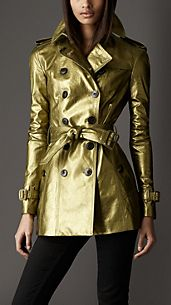 Short Metallic Leather Trench Coat