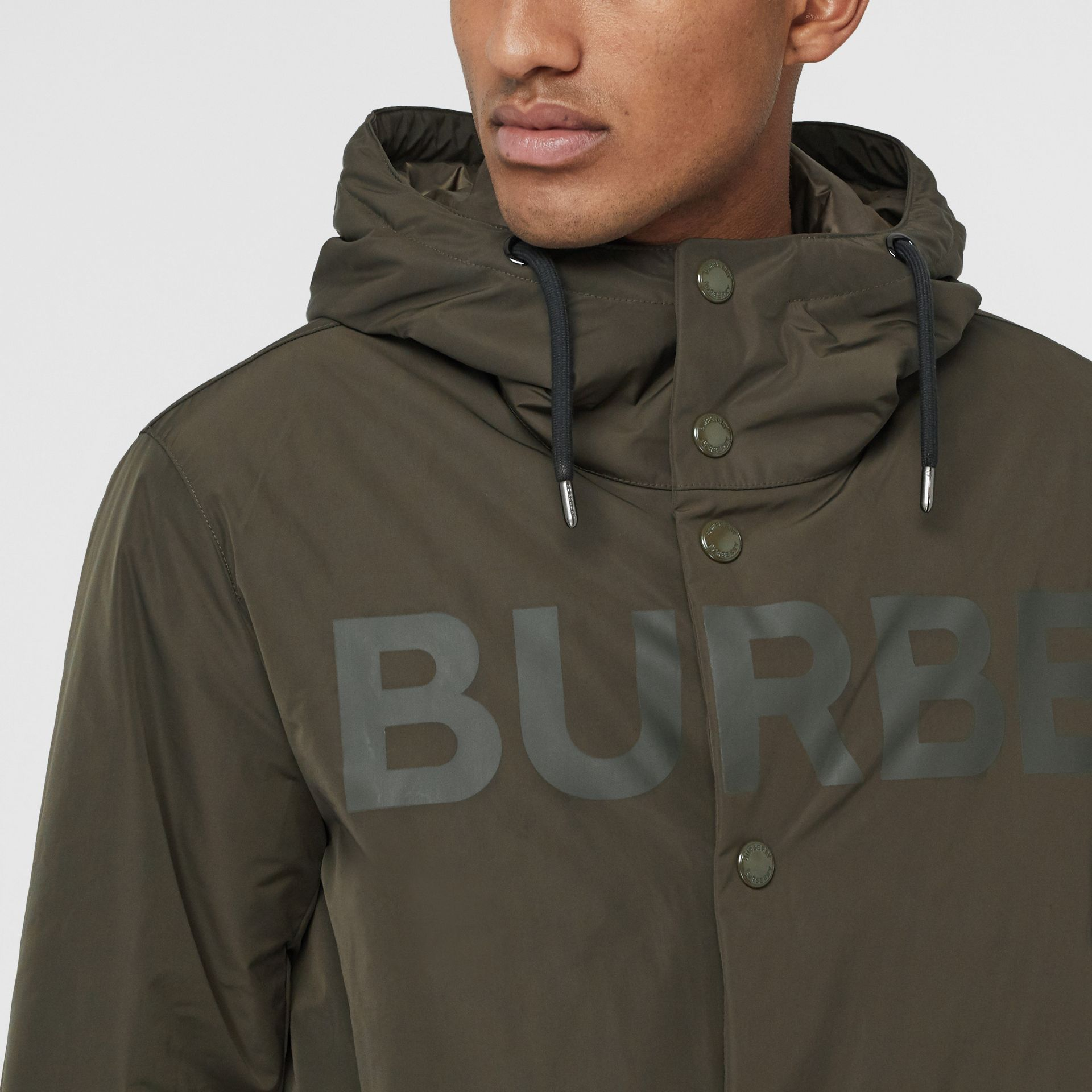 Horseferry Print Shape-memory Taffeta Hooded Coat in Khaki - Men | Burberry - gallery image 4