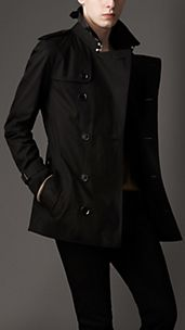 Trench-coat court en gabardine de coton