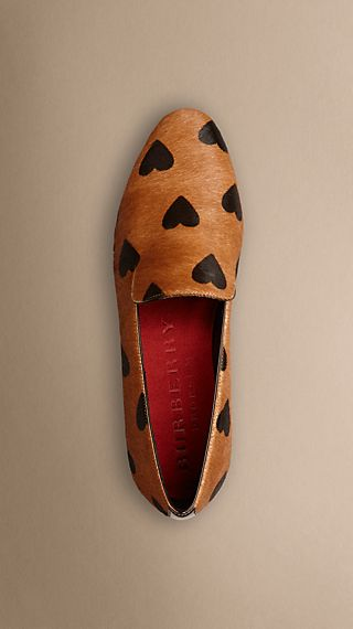 Heart Print Calfskin Loafers