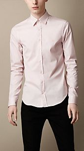 Check Cuff Stretch Cotton Shirt