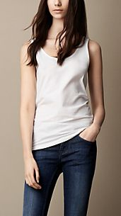 Scoop Neck Ribbed Cotton Vest