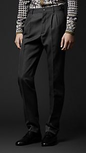 Slim Fit Compact Wool Trousers