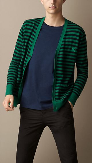 Double-Dyed Striped Wool Cardigan
