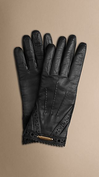Brogue Detail Nappa Leather Gloves