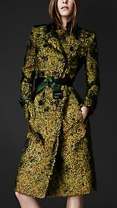 Peacock Feathered Trench Coat