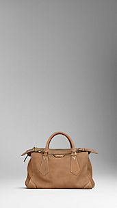 Large Contrast Stitch Nubuck Tote Bag