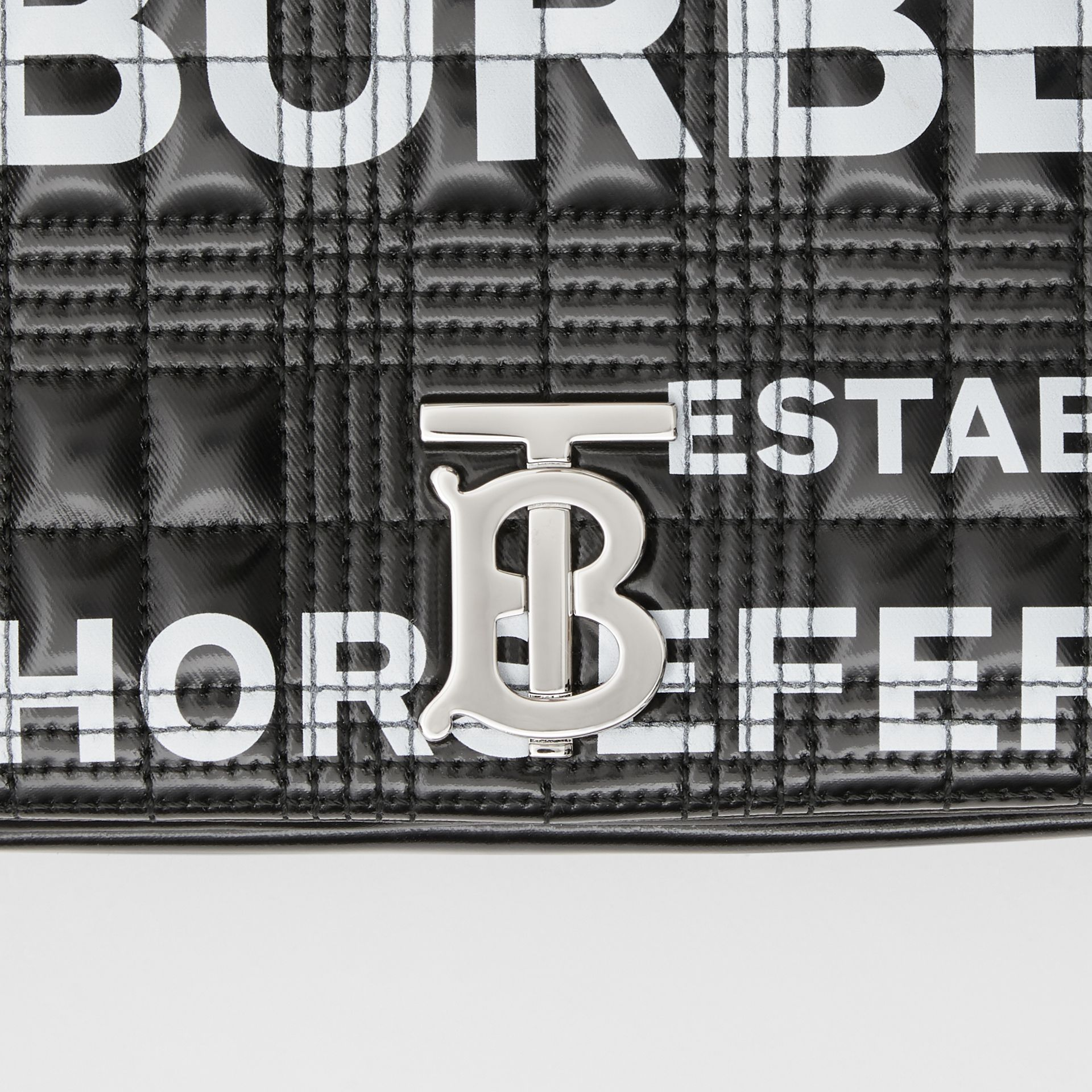 Small Horseferry Print Quilted Lola Bag in Black/silver - Women | Burberry Australia - gallery image 7