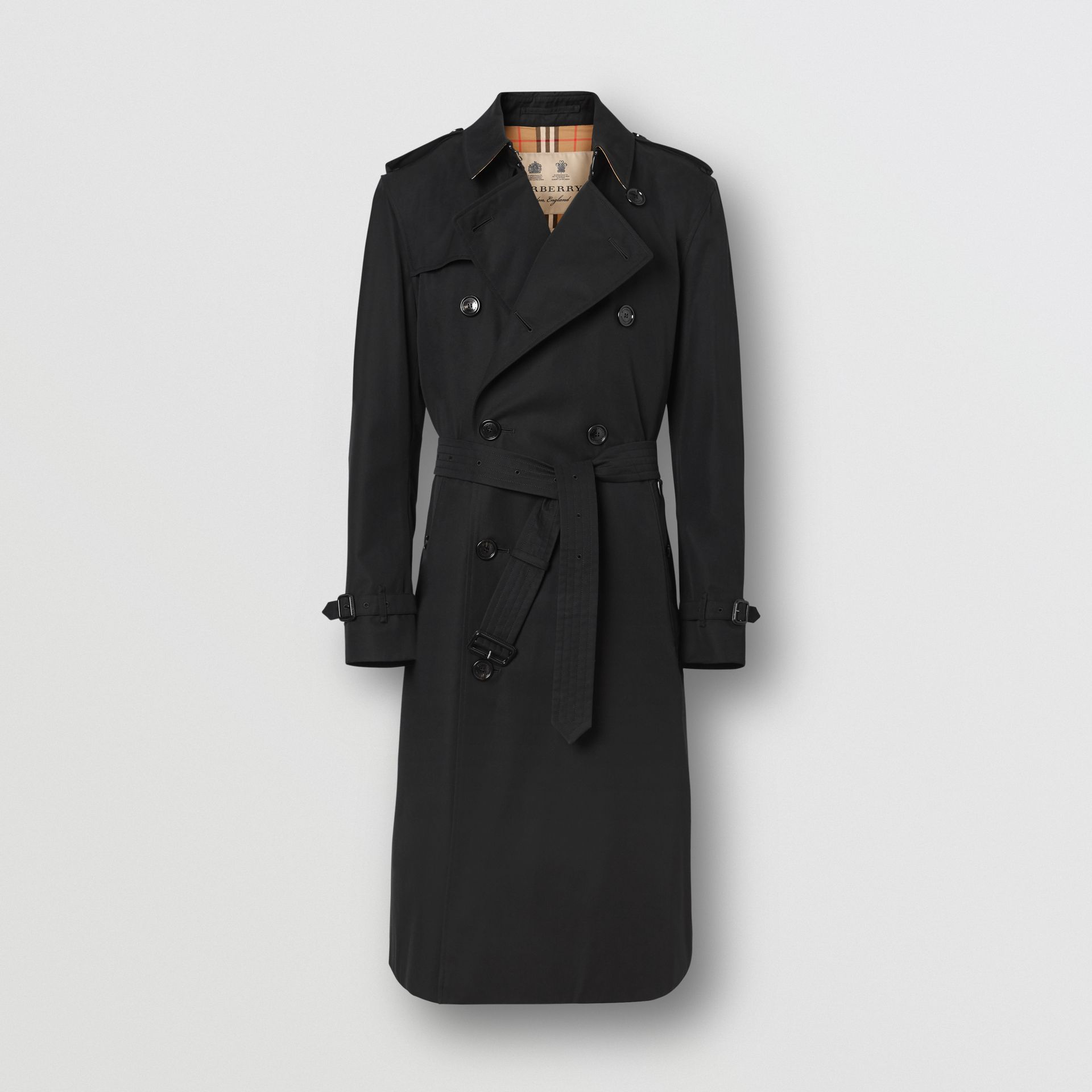 The Long Kensington Heritage Trench Coat in Black - Men | Burberry - gallery image 8