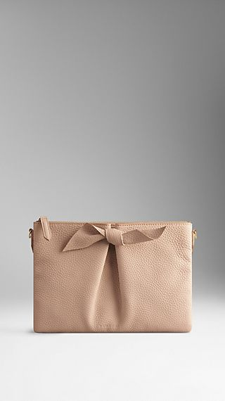Knot-Detail Grainy Leather Clutch Bag
