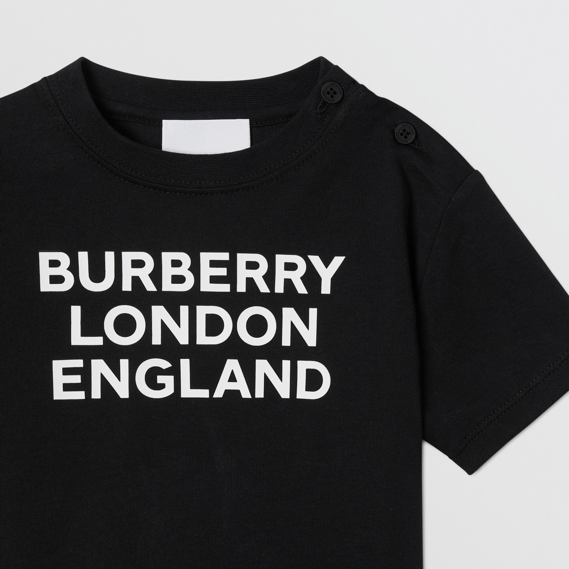 Logo Print Cotton T-shirt in Black - Children | Burberry - gallery image 5