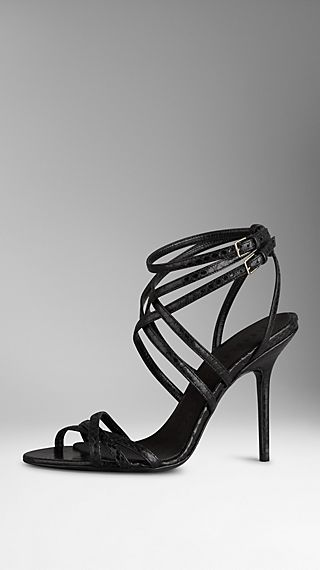 Slim Strap Snakeskin Sandals