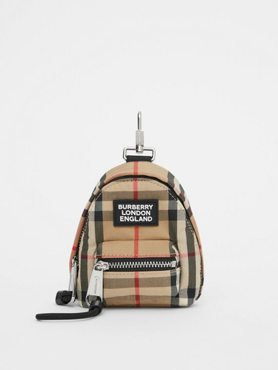 Vintage Check Backpack Charm in Archive Beige
