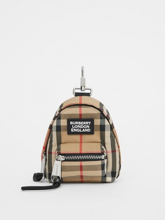 Брелок на рюкзак в клетку Vintage Check (Винтажный Бежевый)