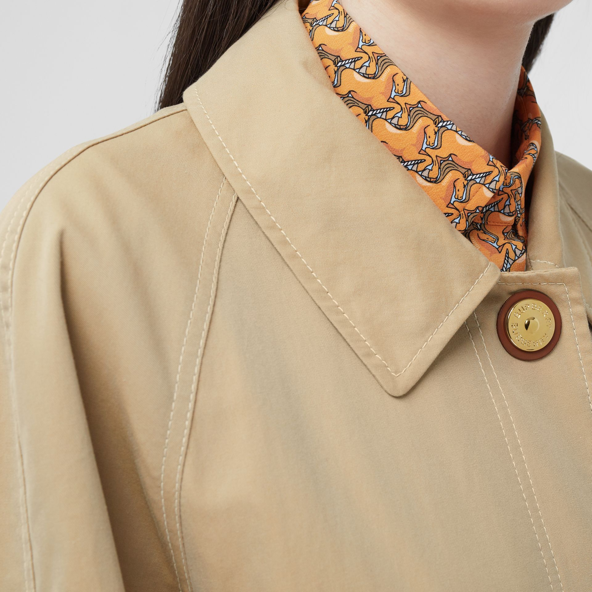 Tropical Gabardine Belted Car Coat in Honey - Women | Burberry - gallery image 1