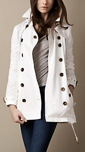 Trench-coat court en coton technique