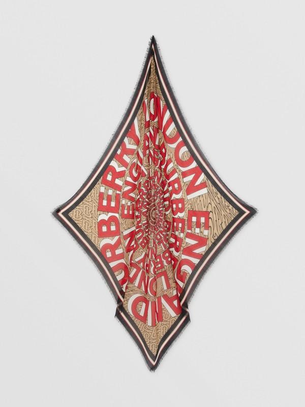 Grand carré de soie et laine avec logo (Beige D'archive) | Burberry - cell image 3