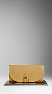 Clutch en cuir grainé