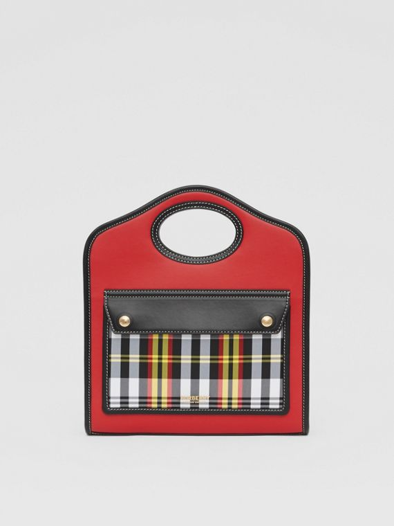 Mini Two-tone Leather and Check Pocket Bag in Bright Red