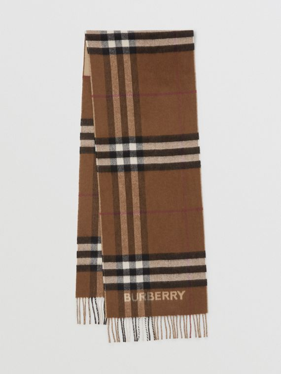Contrast Check Cashmere Scarf in Archive Beige/birch Brown