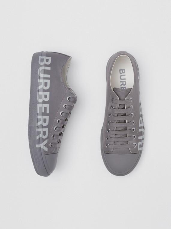 Zapatillas deportivas en algodón de gabardina con logotipo (Gris Sílex)