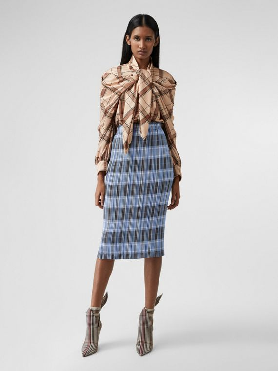 Check Plissé Skirt in Pale Blue