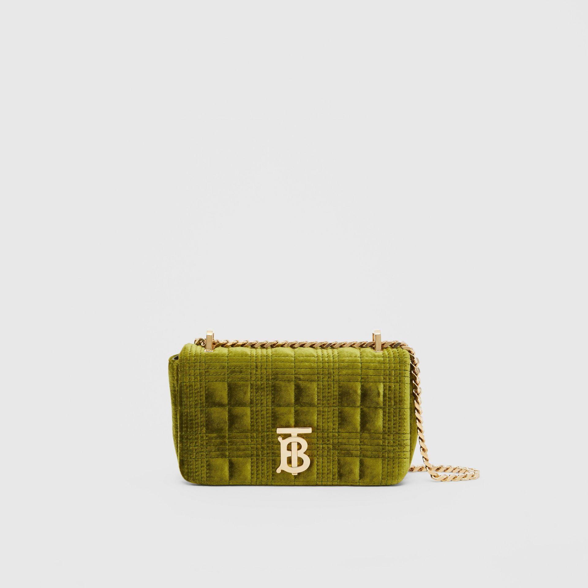 Mini Quilted Velvet Lola Bag in Juniper Green - Women | Burberry - gallery image 0