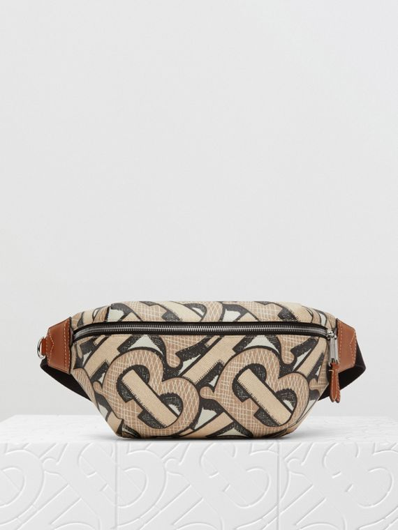 Monogram Print E-canvas Sonny Bum Bag in Dark Beige