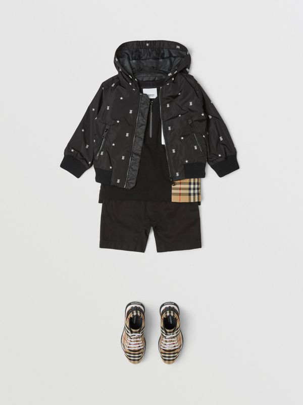 Star and Monogram Motif Lightweight Hooded Jacket in Black - Children | Burberry - cell image 2