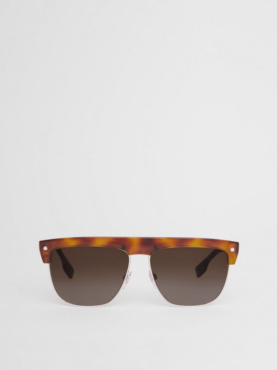 Square Frame Sunglasses in Tortoiseshell Amber