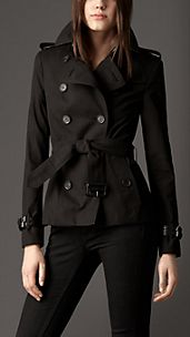Leather Detail Cotton Gabardine Trench Jacket