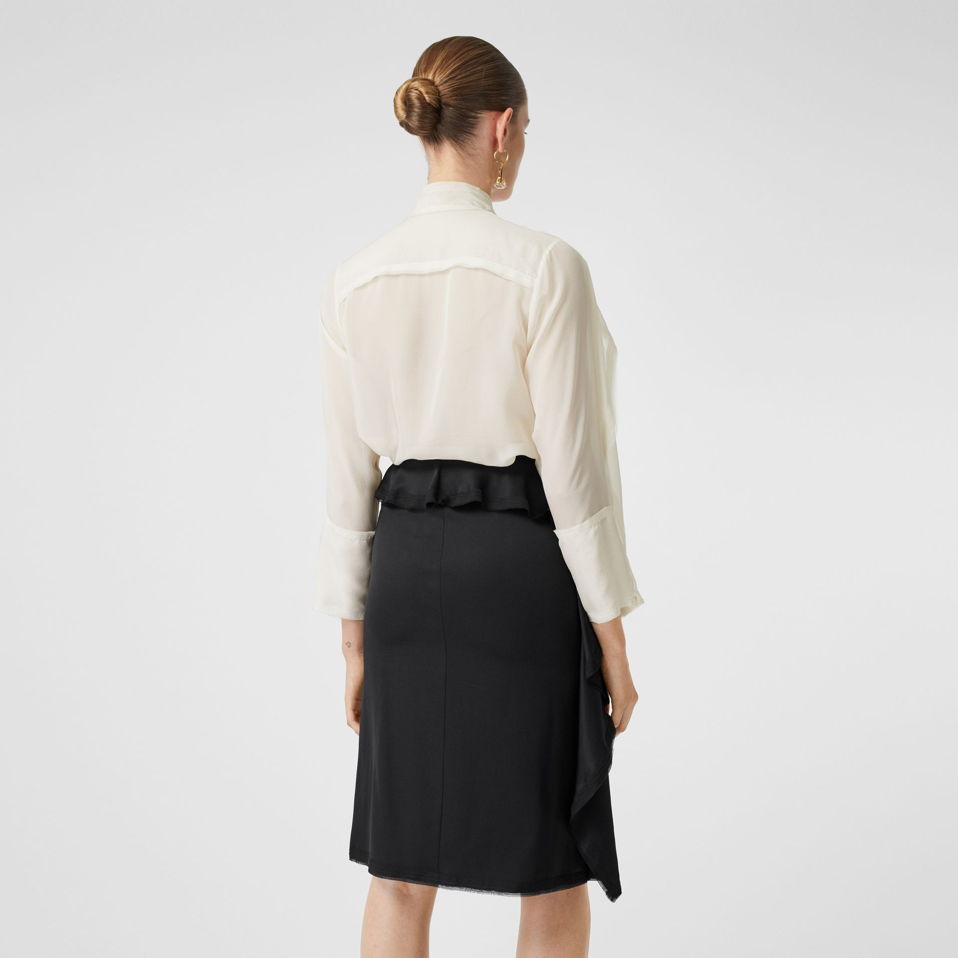 Ruffled Silk Chiffon Pussy-bow Blouse in Ivory - Women | Burberry - gallery image 2