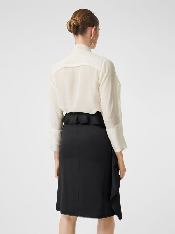 Ruffled Silk Chiffon Pussy-bow Blouse in Ivory - Women | Burberry - cell image 2