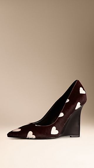 Heart Print Calfskin Wedge Pumps