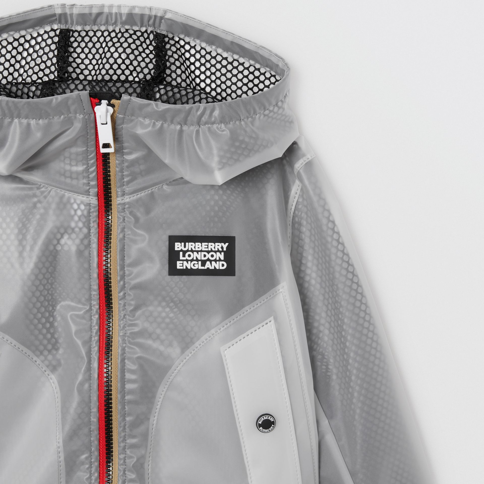 Logo Print Lightweight Hooded Jacket in Clear | Burberry - gallery image 6