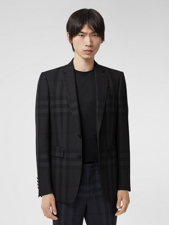 Classic Fit Check Wool Tailored Jacket in Charcoal