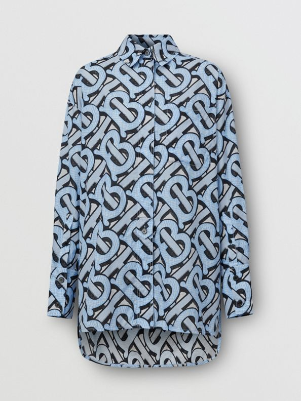 Monogram Print Cotton Poplin Oversized Shirt in Pale Azure