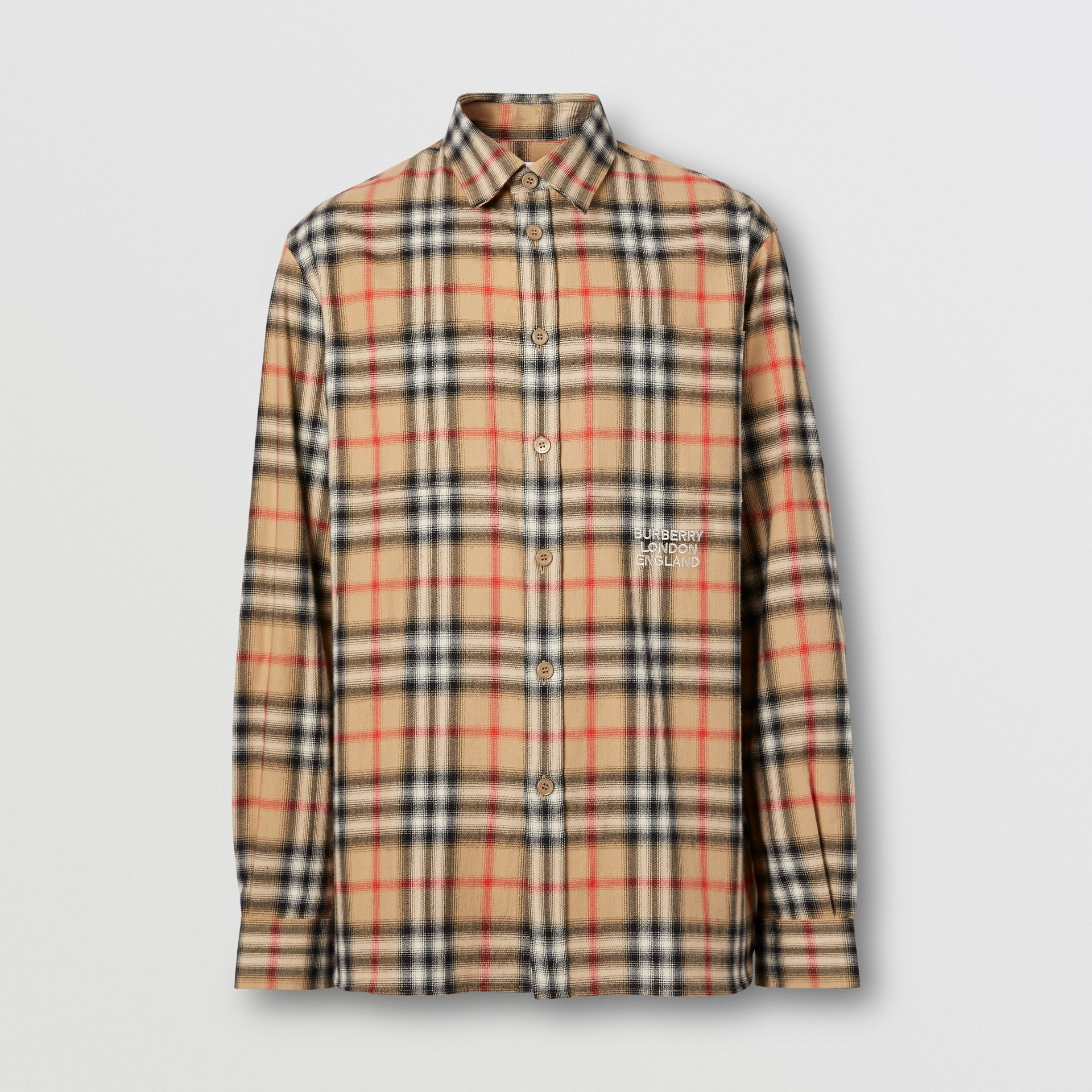 Ombré Check Cotton Flannel Oversized Shirt in Archive Beige - Men | Burberry - gallery image 3