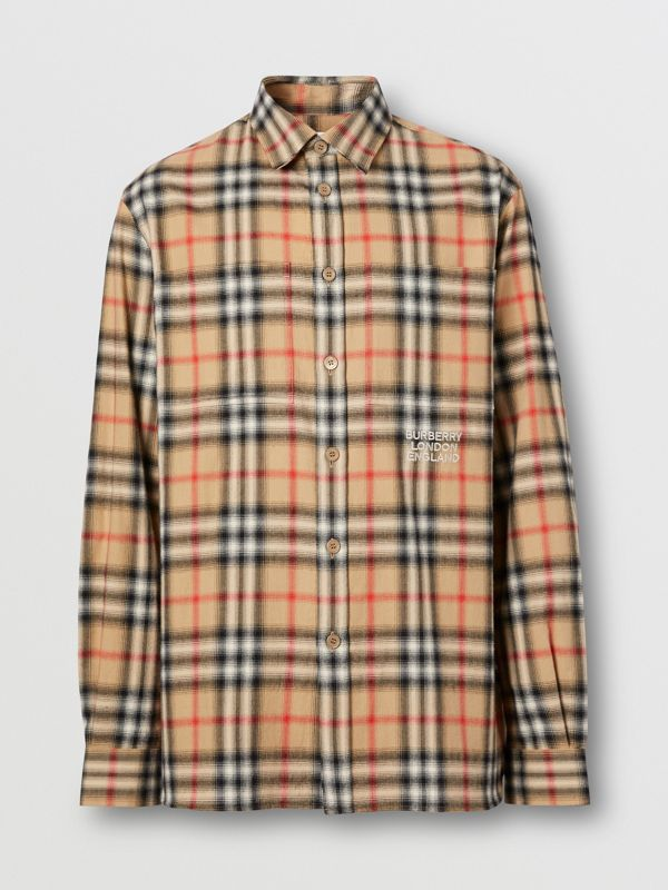 Ombré Check Cotton Flannel Oversized Shirt in Archive Beige - Men | Burberry - cell image 3