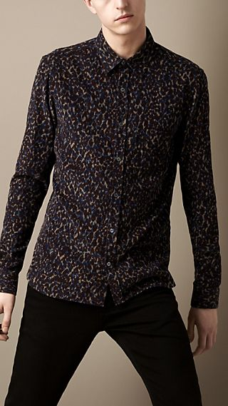 Abstract Animal Print Corduroy Shirt