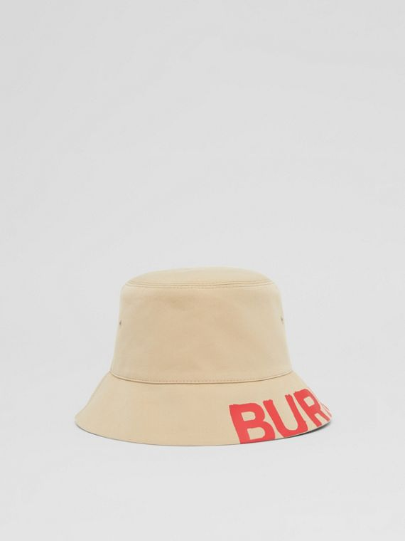 Reversible Logo Print Cotton Gabardine Bucket Hat in Honey