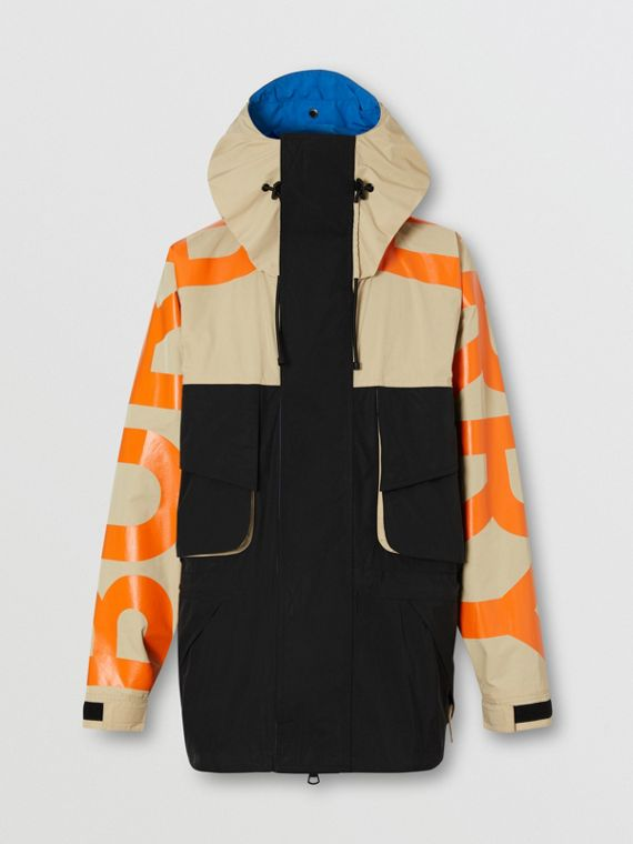 Logo Print Colour Block Technical Twill Jacket in Black