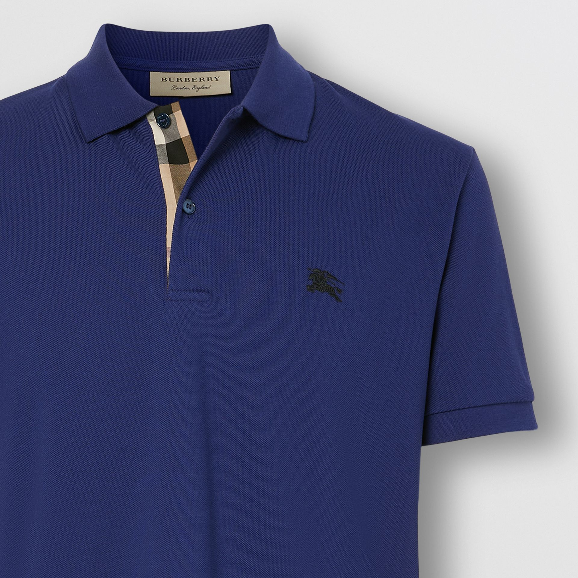 Check Placket Cotton Piqué Polo Shirt in Bright Blue - Men | Burberry - gallery image 1