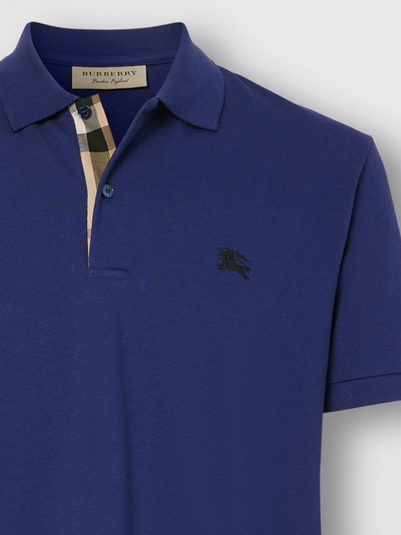 Check Placket Cotton Piqué Polo Shirt in Bright Blue - Men | Burberry - cell image 1