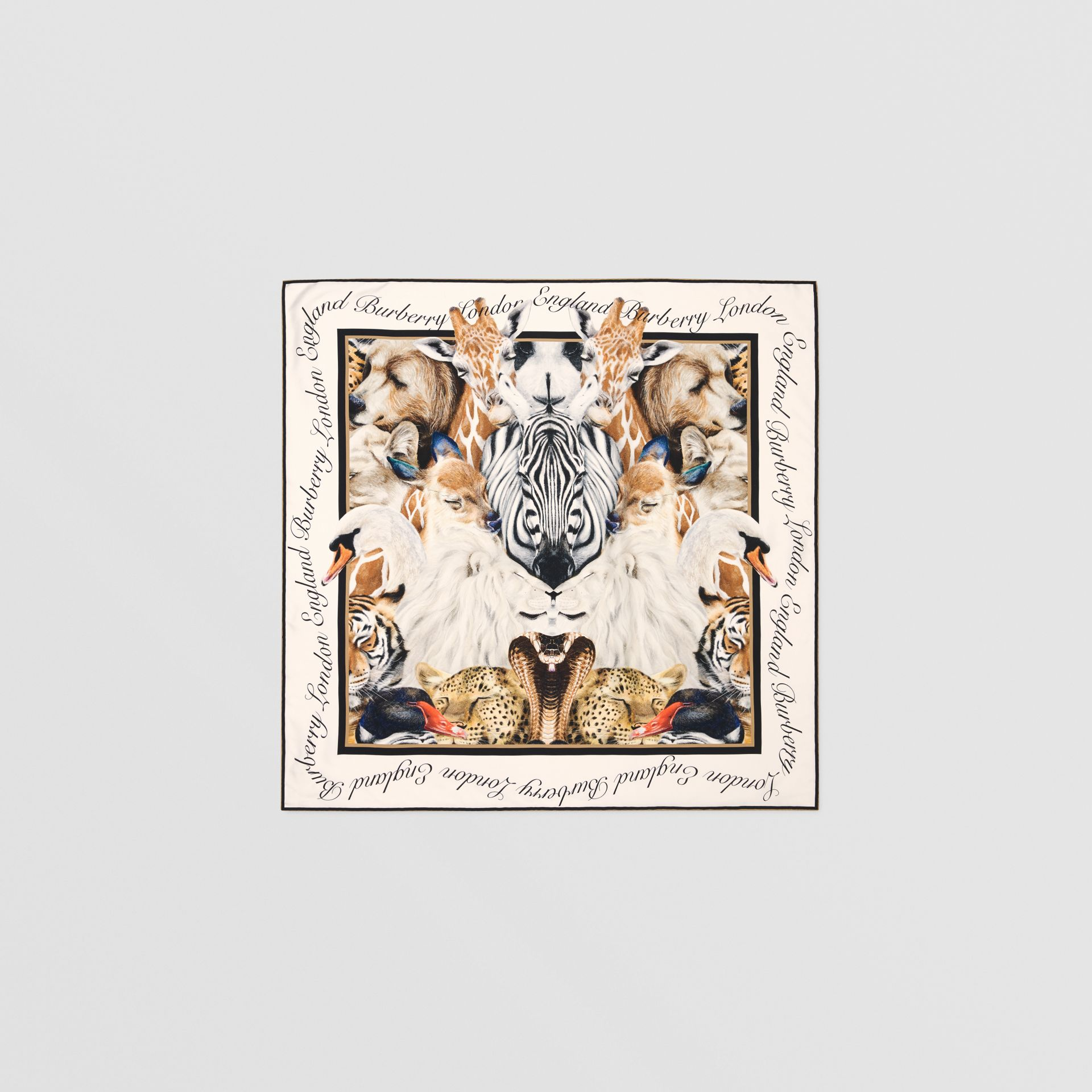 Animalia Print Silk Square Scarf in Camel | Burberry - gallery image 0
