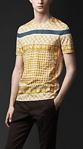Woodcut Print Cotton T-shirt