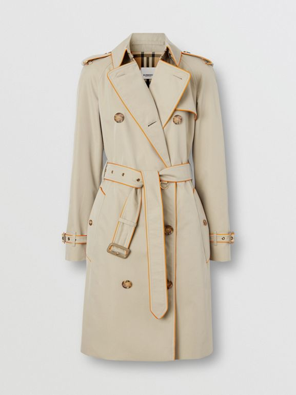 Piped Cotton Gabardine Trench Coat in Honey - Women | Burberry Hong Kong S.A.R. - cell image 1