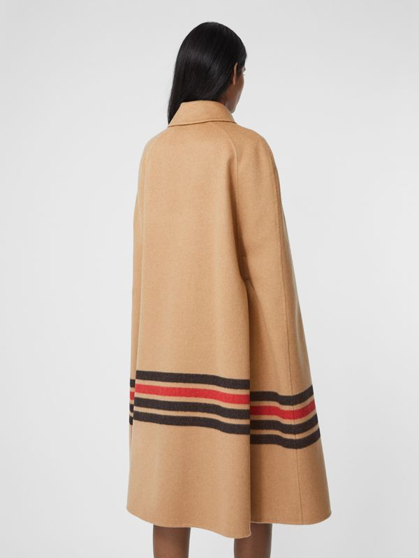 Stripe Detail Double-faced Cashmere Cape in Light Camel - Women | Burberry - cell image 2