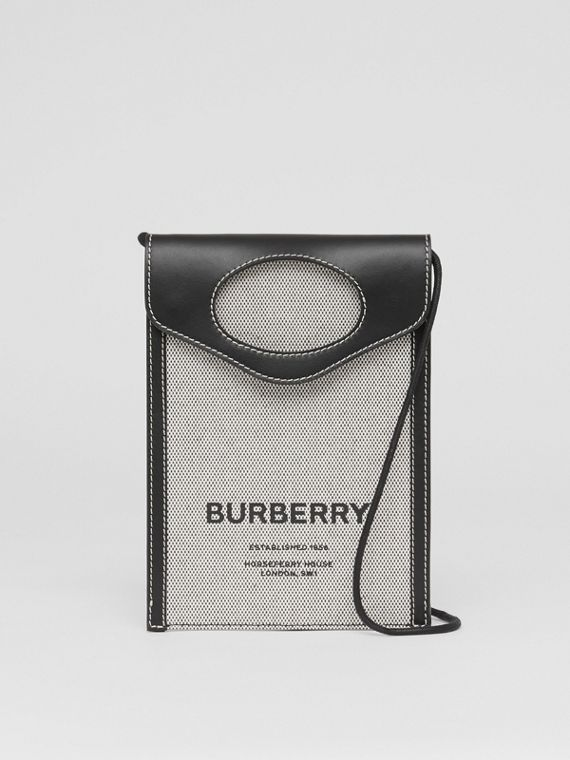 Two-tone Canvas and Leather Pocket Phone Case in Black