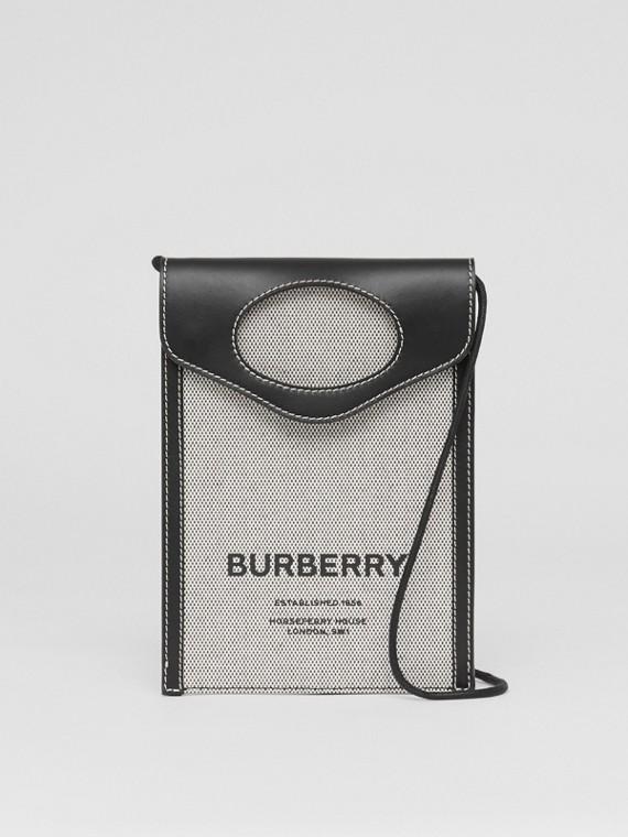 Custodia per telefono Pocket bicolore in tela e pelle (Nero)